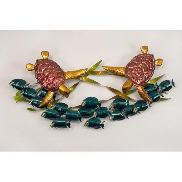 2 Sea Turtles with school of Blue Tangs