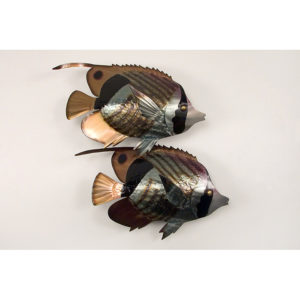 two green and bronze butterfly fish swimming right