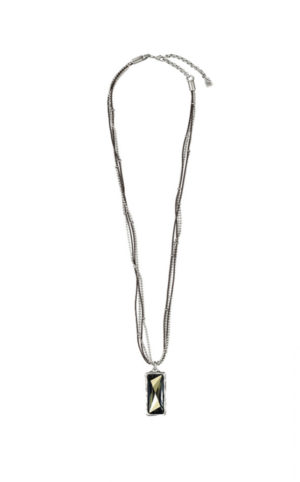 Necklace featuring a Swarovski Crystal. With multiple strands in leather and silver-plated beads.