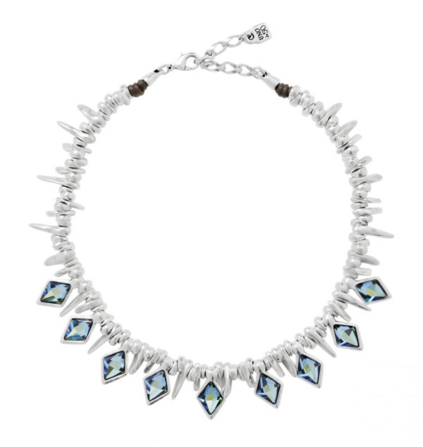 silver necklace with dangling rhombus blue and green stones handcrafted uno de 50 spain