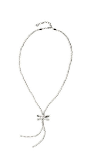 """Long boho chic style necklace composed of multiple silver-plated pieces, with a dragonfly, protagonist of the collection """"Sweetness"""", in its central part, its wings include grey Swarovski crystals."""