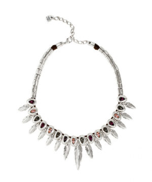 silver necklace with autumn colored stones and feathers dangling from each stone by uno de 50