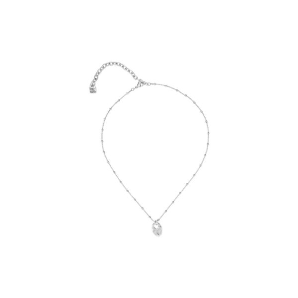 Simple necklace and long midi, silver plated, composed of several balls and one medallion in the shape of heart padlock, one of the distinctive elements of the new Valentine's Day Collection by UNOde50. A perfect accesorize to wear daily. Made in Spain by UNOde50 and 100% handmade way.