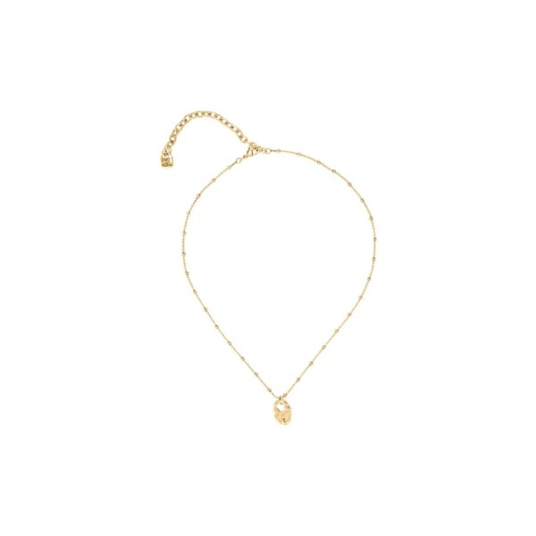 Simple gold plated and long midi necklace composed of several balls and with a central heart shaped charm. A perfect present to someone special. A jewel made in Spain by UNOde50 and 100% handmade way.