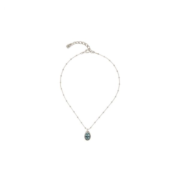 "Simple and short necklace composed by several silver plated pieces and a drop of water with a SWAROVSKI® crystal in ""Indian Safire"" blue color inside. A piece made in Spain by UNOde50, and 100% handmade that give a touch of sophistication to all your outfits."