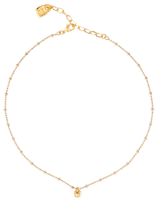 Simple gold-plated necklace with a circular mini charm. A jewel designed to an active woman and that you can wear with all your outfits, both day and night. A piece that will be part of your wardrobe background and made in Spain by UNOde50 and 100% made by hand.