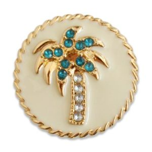 The Crest snap is a cream enamel palm tree with turquoise and clear stones on a gold base.