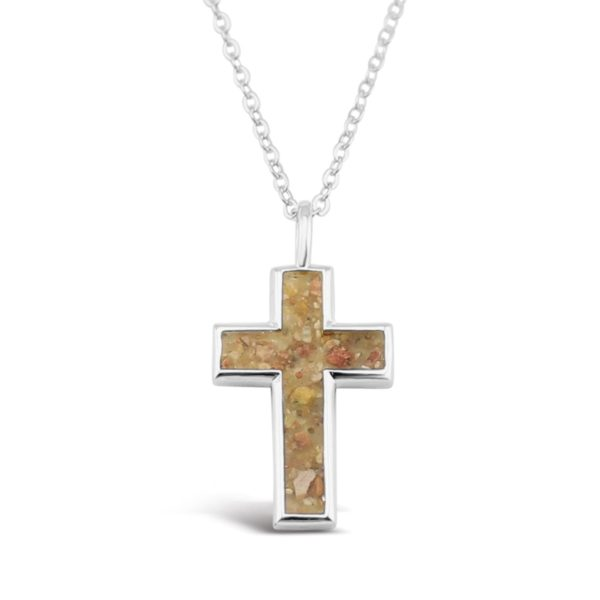 cross necklace with sand handmade in the USA by dune jewelry