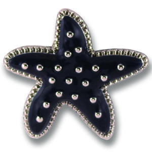 The Danielle Snap is a navy enamel starfish on silver base.