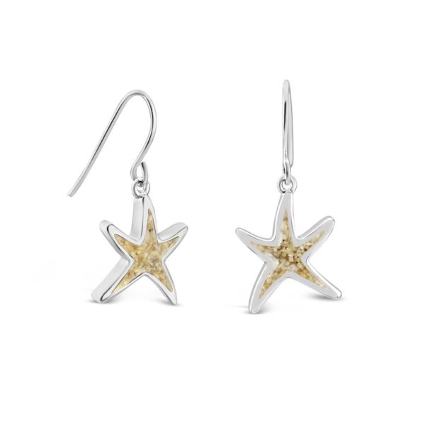 delicate starfish earrings with sand handmade in the USA by dune jewelry