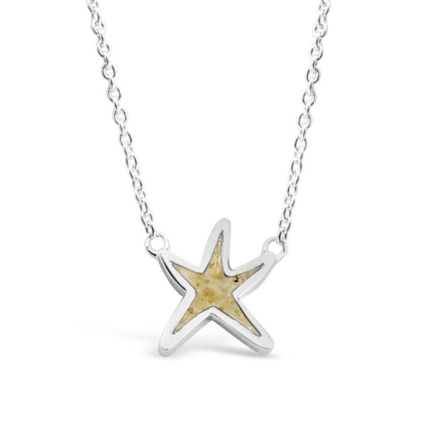 delicate starfish stationary necklace with sand handmade in the USA by dune jewelry
