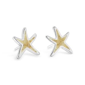 delicate starfish stud earrings with sand handmade in the USA by dune jewelry