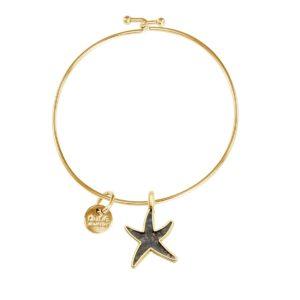 gold starfish bangle bracelet handmade in the USA by dune jewelry