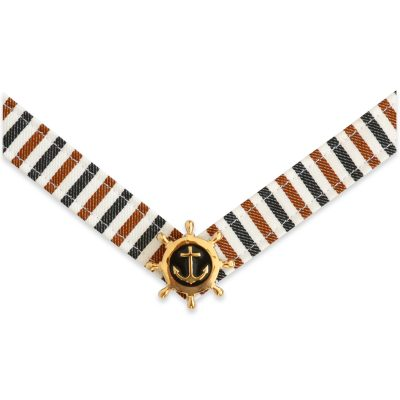 The Diana strap is a tan, black, and white stripe fabric strap with navy and gold ship wheel ornament.