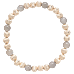 Dignity Gold Sincerity Pattern 6mm Bead Bracelet