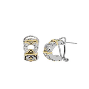 Two tone Pave Circle Post Clip Earrings