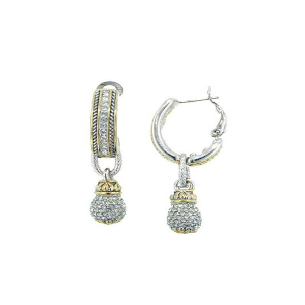 two tone Pave Drop Hoop Earrings