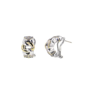 Two tone Three Circle Pave Post Clip Earrings