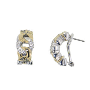 two tone 3 Circle Pave Post Clip Earrings