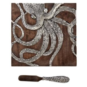 Silver Octopus Bar Board and Matching Tentacle Spreader Set