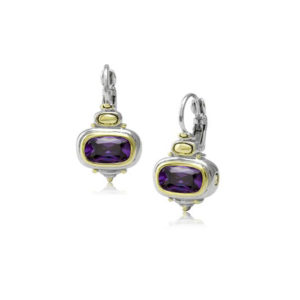 two tone purple stone French Wire Earrings