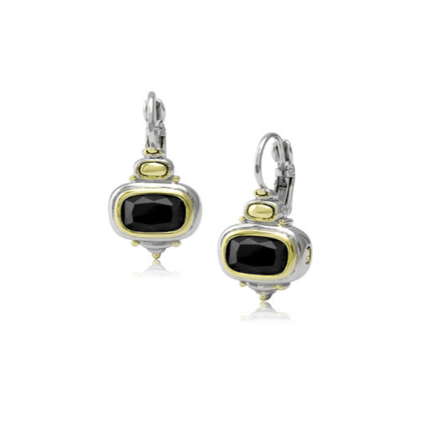 Two tone Nouveau Black French Wire Earrings