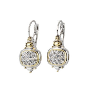 two tone pave Nouveau CZ French Wire Earrings