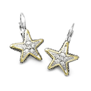 two tone Pave Starfish Fishwire Earrings