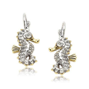 two tone pave Seahorse Fishwire Earrings