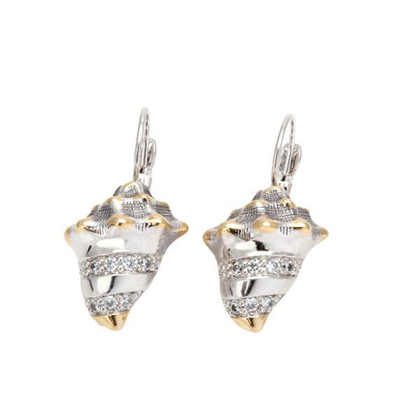 Two tone Pave Seashell Fishwire Earrings