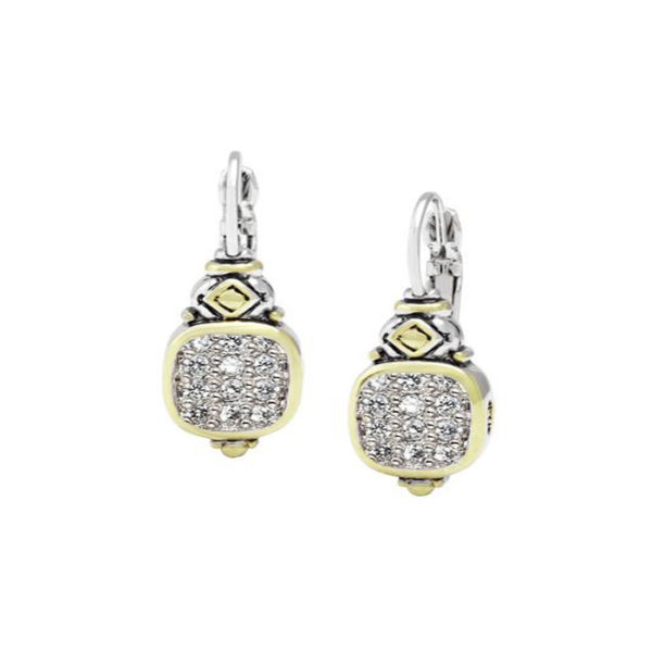 two tone Pave Vertical French Wire Earrings