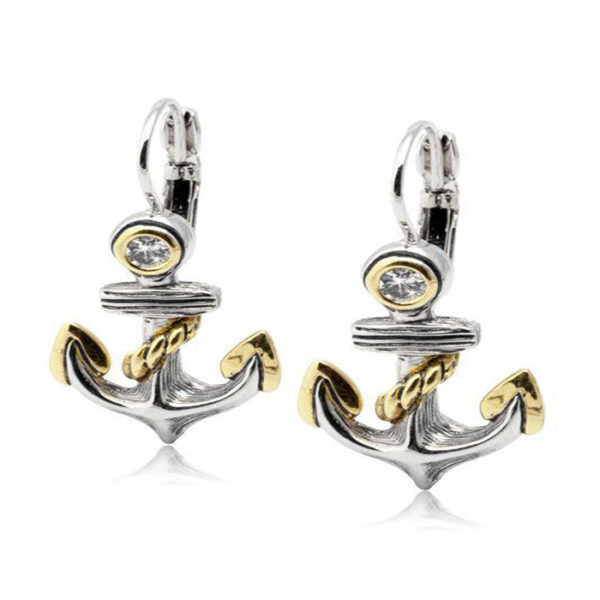 two tone Anchor Fish Wire Earrings