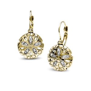 gold Sand Dollar CZ French Wire Earrings