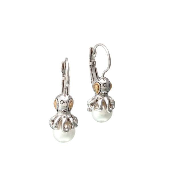 two tone Octopus French Wire Pearl Earrings