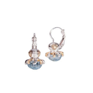 Two tone Aqua stone Octopus French Wire Earrings