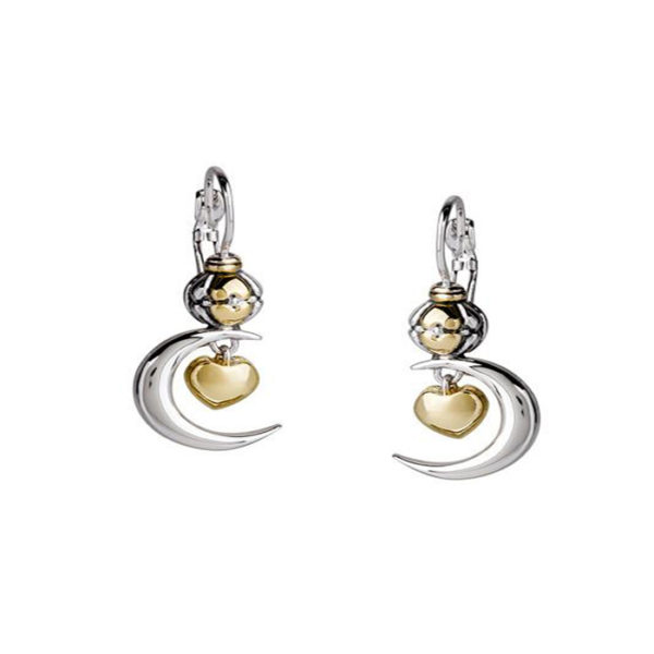 two tone Heart in Moon Earrings