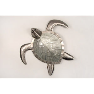 silver sea turtle with glass shell