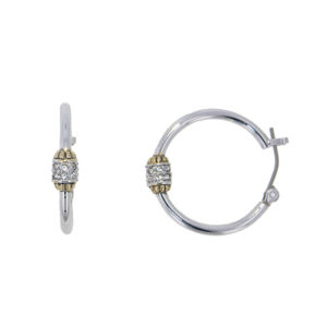 Two tone Pave Beaded Hoop Earrings