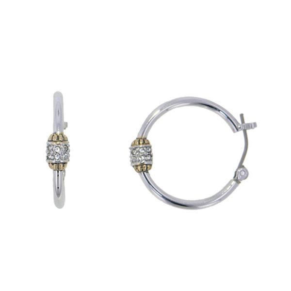 Two tone Pave Beaded Hoop Earrings