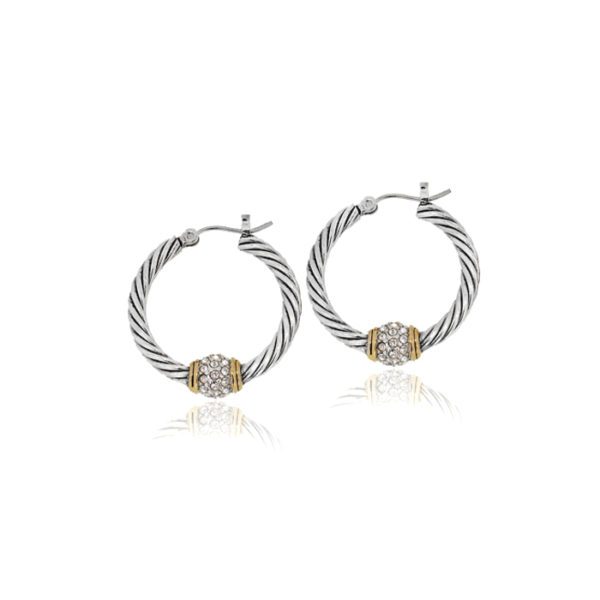 Two Tone Pave Twisted Wire Hoop Earrings