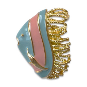 The Gabby snap is a coral and turquoise enamel fish snap on a gold base.