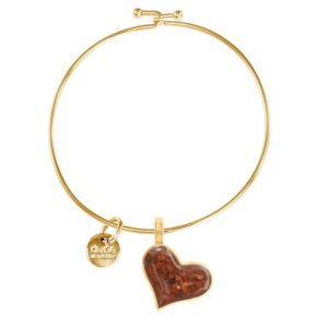 gold heart bangle bracelet with sand handmade in the USA by dune jewelry