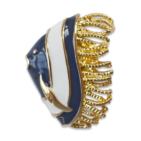 The Gracie snap is a navy and white enamel fish snap on a gold base.