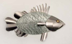 grouper with glass body and silver head and fins stainless steel wall art by mark malizia