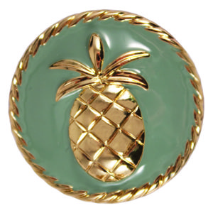 The Heather Snap is a blue enamel snap with gold pineapple.