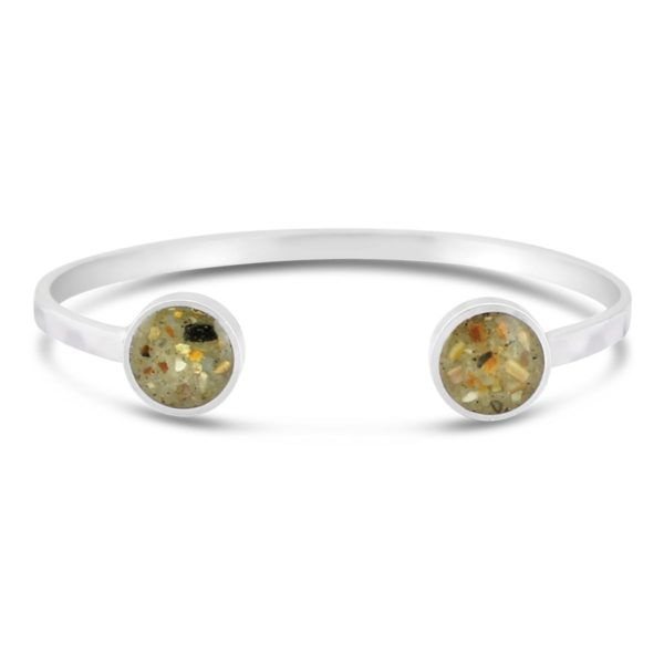 inlet silver cuff with sand handmade in the USA by dune jewelry