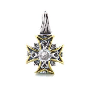 Two tone Maltese Cross Pendant
