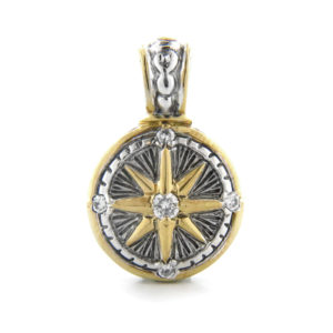 Two tone Compass Charm