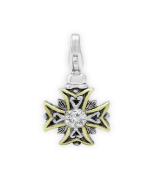 two tone Cross Clip Charm