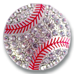 The Jax Snap is a rhinestone baseball on silver base with red accents. lindsay phillips switch flops